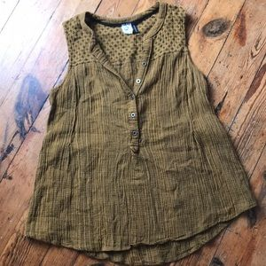 Anthropologie mustard and black stitched top